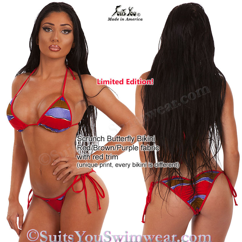 Scrunch Butterfly Bikini, Red Brown stripes