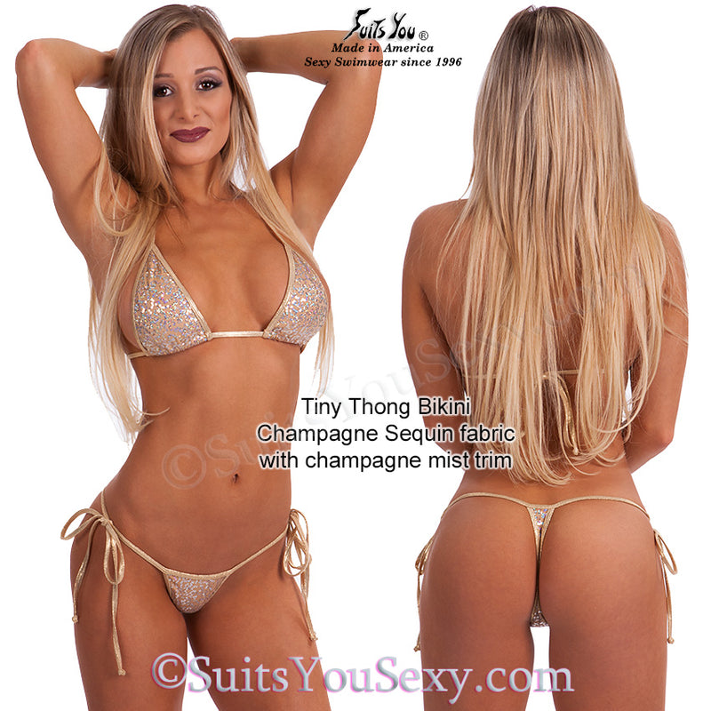 Champagne Sequin Thong Bikinis, tiny bottom with tiny top