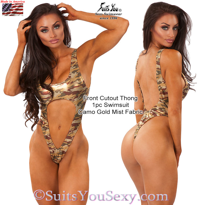 Front Cutout 1-piece Thong Swimsuit, camo fabric