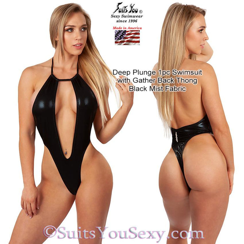 One Piece Swimsuit with Deep Plunge Front and Thong Back, black mist fabric