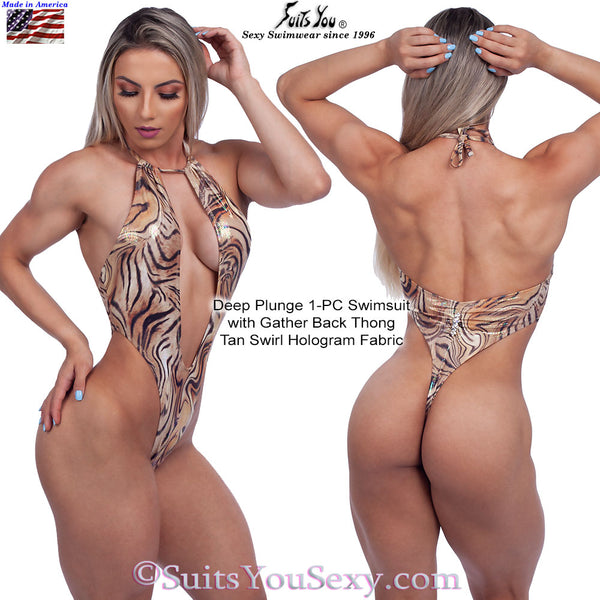 Deep Plunge One-Piece Swimsuit, Tan Swirl Hologram