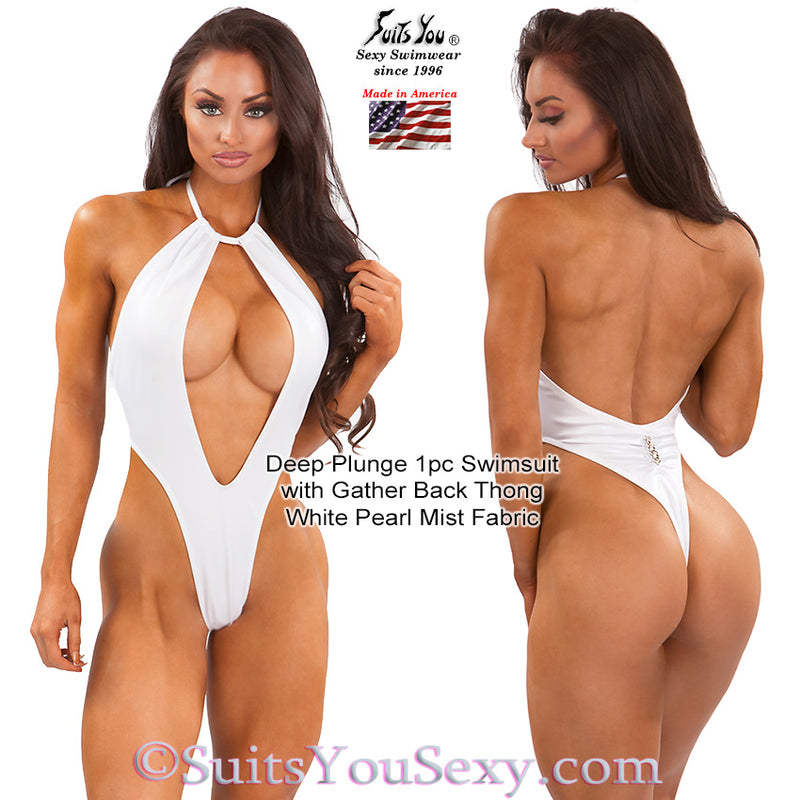 One Piece Swimsuit with Deep Plunge Front and Thong Back, white pearl fabric