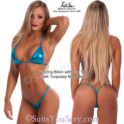 V-String Bikini with Tiny Top, turquoise mist fabric