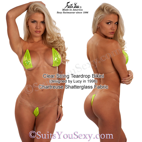 Teardrop Bikini with Clear Strings, chartreuse fabric