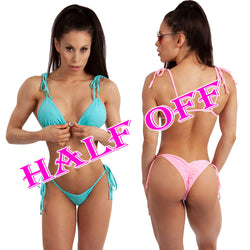 Tie Shoulder Top Bikini with scrunch bottom, 4 colors.