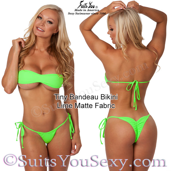 Tiny Bandeau Top Bikini with Tiny Scrunch Bottom, 6 COLORS