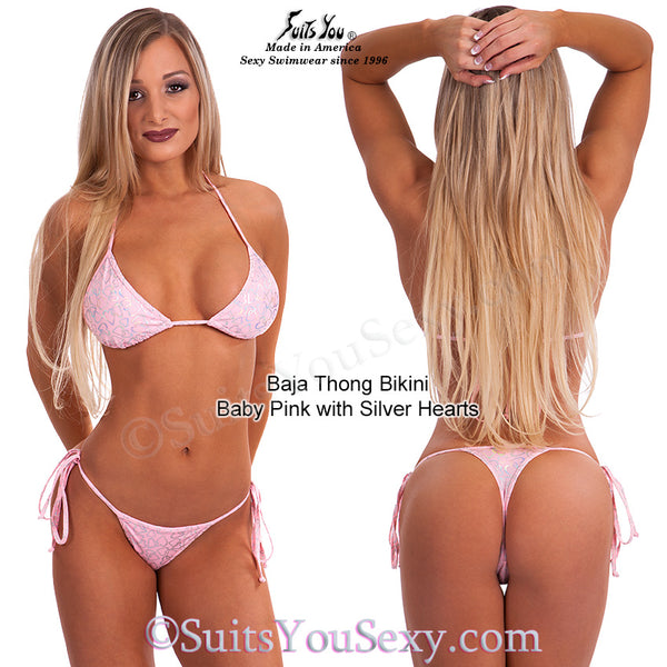 Valentine Thong Bikini, baby pink with silver hearts