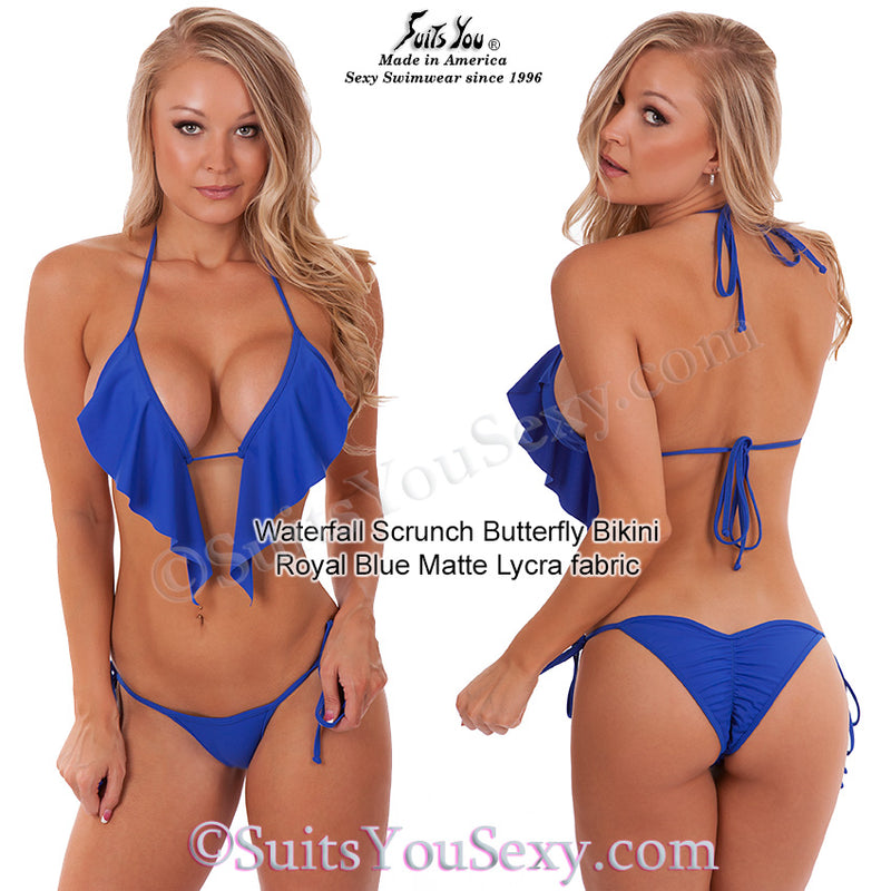 Waterfall Top Scrunch Butterfly Swimsuit, blue fabric