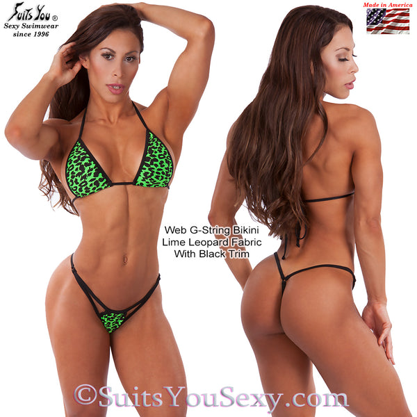 Web G-String Bikini, Lime Leopard with Black