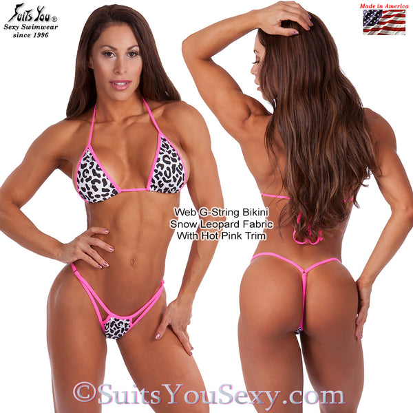 Web G-String Bikini, Snow Leopard with Hot Pink Trim
