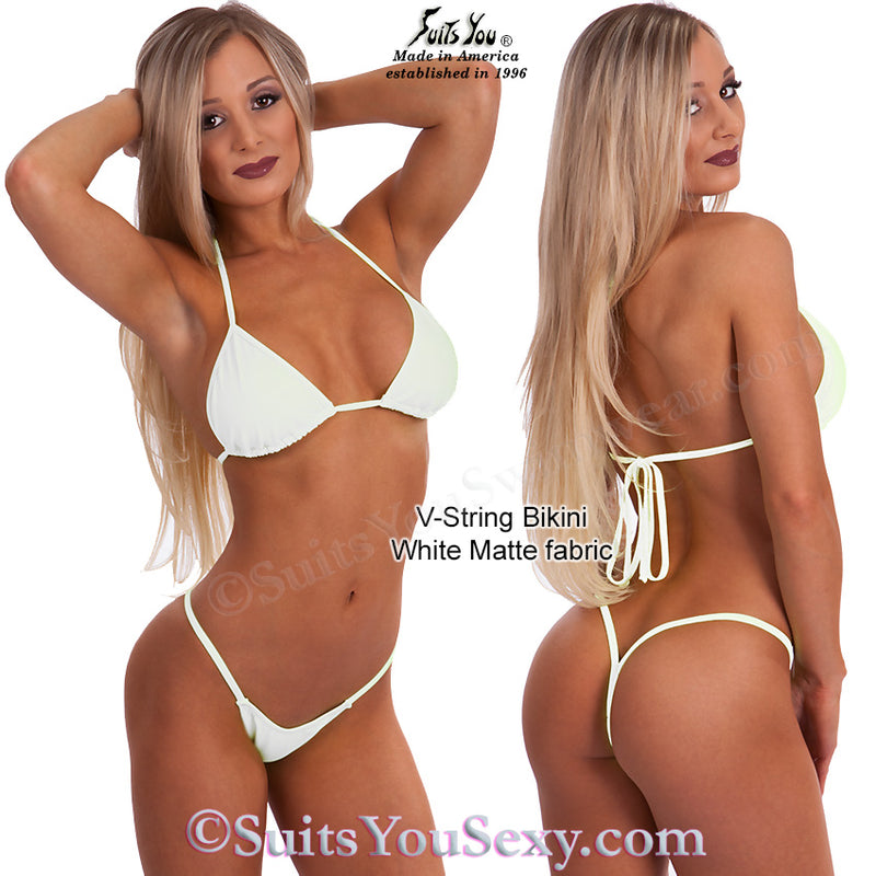 V-String Bikinis, solid colors with v-back