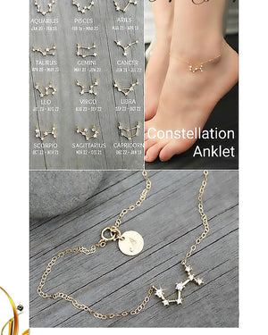 Constellation ANKLET, Cubic zirconia diamonds, 14k gold filled, cz Celestial Zodiac ankle bracelet