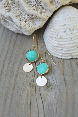 Boho chic Turquoise gemstone earrings, 14k gold filled French ear wires and discs, beach wedding