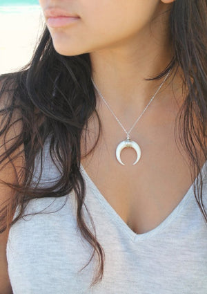 Boho Chic Horn necklace, Crescent moon, natural carved bone, 925 sterling silver layering necklace