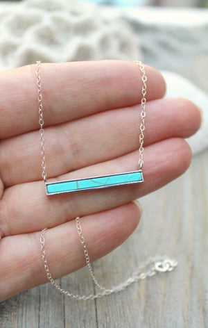 Turquoise bar necklace, Boho chic 925 sterling silver layering necklace,  Gemstone necklace