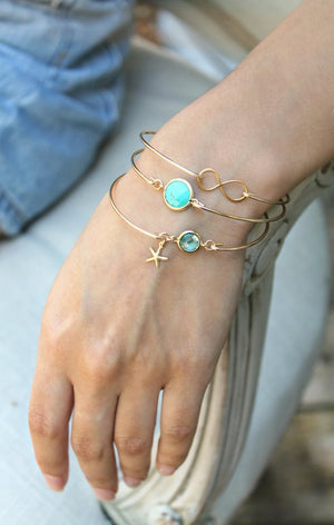 Turquoise Bangle bracelet, 14k Gold Filled stacking bracelet, aquamarine & mini starfish, infinity