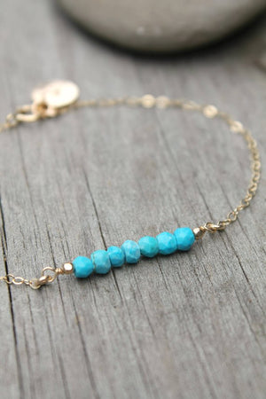 Turquoise bracelet, bar bracelet, dainty beaded, custom stamped personalized initial circle disc