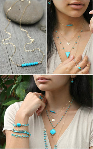 Turquoise bar necklace, dainty turquoise bead bar necklace, beaded bar necklace
