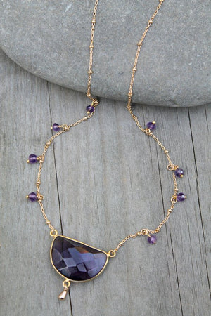 Amethyst necklace, 14k gold filled, purple gemstone pendant, Amethyst wire wrapped beads on beaded
