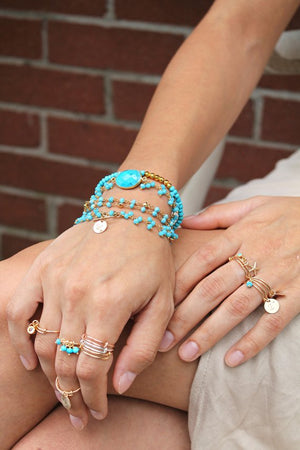 Adjustable RING, turquoise beads 14k gold filled stackable finger ring, stacking ring, Boho Chic