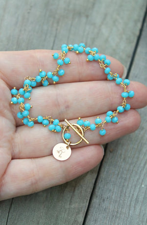 Turquoise bracelet, beaded gemstone, custom stamped personalized initial circle disc