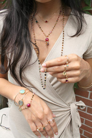 Gemstone necklace, dyed Ruby & Multi Tourmaline beaded rosary chain, red, green, purple, multi color