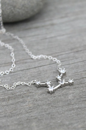 Constellation Necklace, zodiac Celestial, Cubic zirconia diamonds, Sterling silver, cz layering