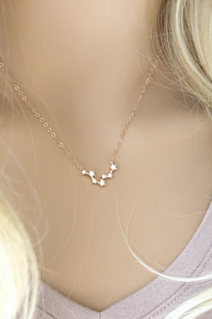 ROSE GOLD Constellation Necklace, zodiac signs, Celestial, Cubic zirconia diamonds