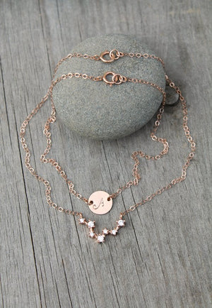 Constellation ANKLET, initial disc, layered ankle bracelet, 14k Rose gold filled chain