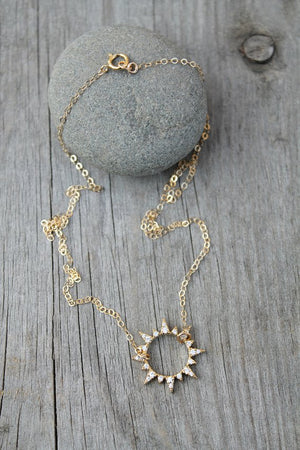 Sun necklace, 14k gold filled chain, cubic zirconia sunshine pendant, cz diamonds