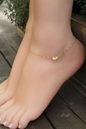 ANKLET - 14kt Gold filled, cubic zirconia diamond Heart, personalized custom stamped initial