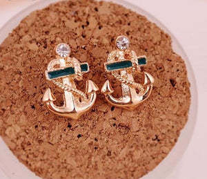 Sailor Anchor Rhinestone Earrings