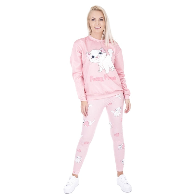 Cute Women's Pink Cat Leggings