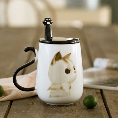 500ml Cat Ceramic Mug With Lid and Spoon