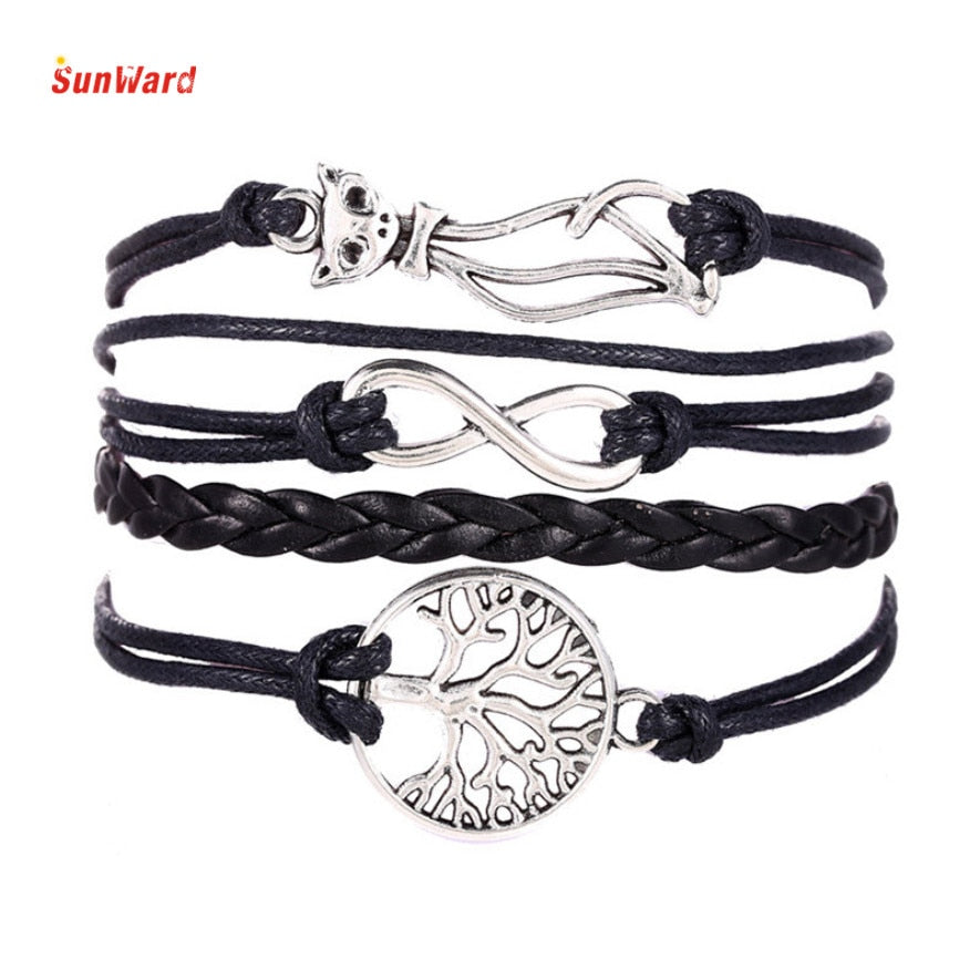 Charm Cat Tree 8 Shape Multilayer Knit Leather Rope Bracelet