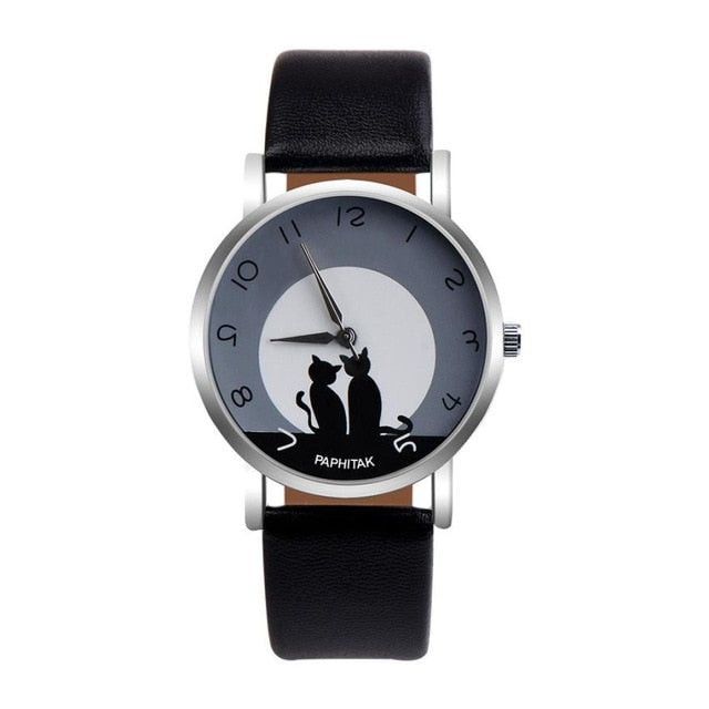 Lovely Cat Pattern Leather Band Watch