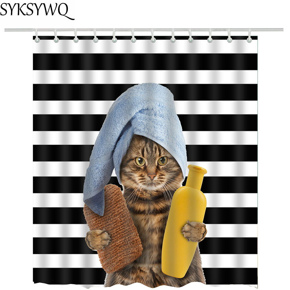 Ready to shower cat shower curtain