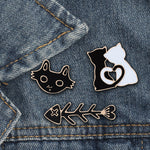 Black White Cat Fish Bone Brooch Pins