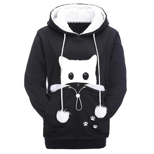 Cat Print Hoodie with Pouch Pocket