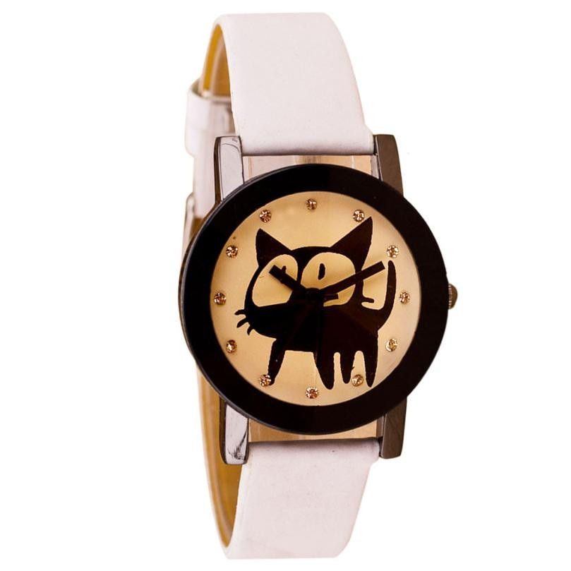 Ladies Cat Crystal Quartz Watch