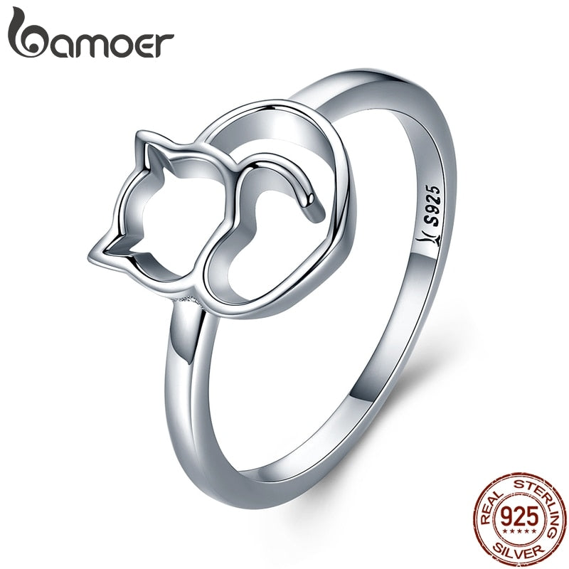 Authentic 925 Sterling Silver Cat & Heart Finger Ring