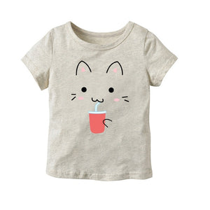Cat Face Short Sleeve T-shirt