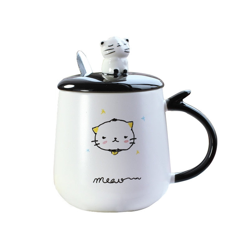 3D Cat Ceramic Coffee Mug with Lid with Spoon