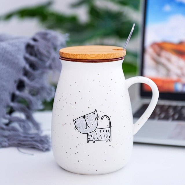 Cute Cat Porcelain Mug With Lid And Spoon
