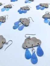 Recycled plastic raincloud earrings, blue raindrops. Made in NZ