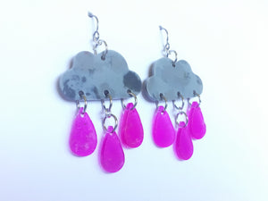 Recycled plastic raincloud earrings, pink raindrops. Made in NZ
