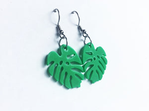 Recycled plastic Monstera deliciosa leaf earrings, Made in NZ