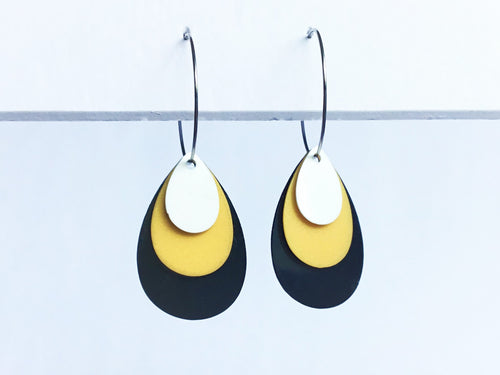 Recycled plastic Mix and Match Teardrop Hoop earrings, black, gold, white, Made in NZ