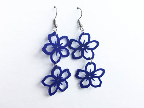 Recycled plastic earrings, Forget-Me-Not double, blue plastic ice cream lids, Made in NZ