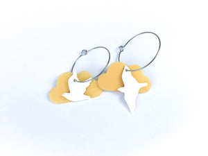 Recycled plastic earrings, Flocking Birds mixed, Made in NZ